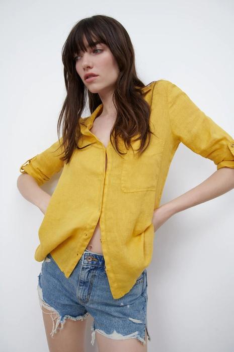 Al por mayor blusa de lino simple de moda NHAM324323's discount tags