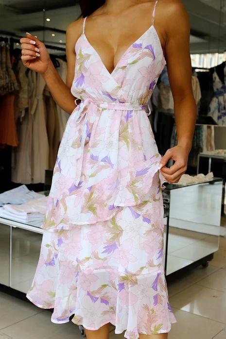 vestido largo con tirantes y estampado floral con volantes NHAM324328's discount tags