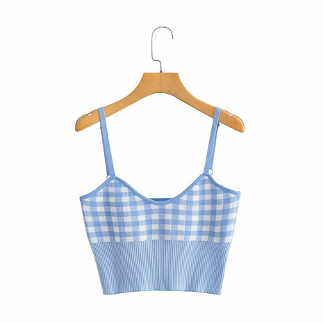 cabestrillo sin mangas a cuadros azul blanco en forma de O de moda NHAM324402's discount tags