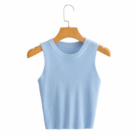 chaleco sin mangas de cuello redondo suéter delgado de punto corto de color sólido NHAM324412's discount tags