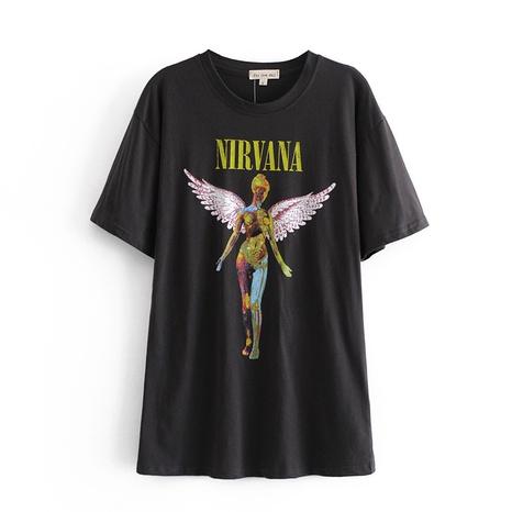 nueva camiseta de cuello redondo con estampado en color de moda NHAM324415's discount tags