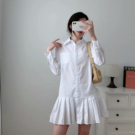 vestido plisado de manga larga de color sólido de moda NHAM324416's discount tags