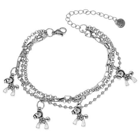 Korean fashion stainless steel pendant horse multi-layer bracelet NHSC324678's discount tags