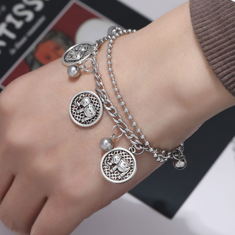Korean simple stainless steel elephant pendant bracelet NHSC324675's discount tags