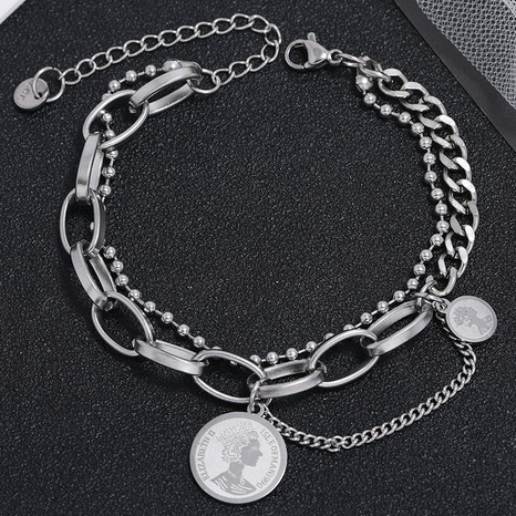 Korean fashion simple stainless steel coin pendant bracelet NHSC324674's discount tags