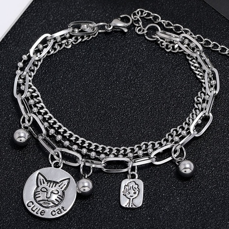 simple stainless steel leopard multi-layer bracelet NHSC324671's discount tags