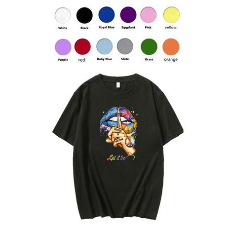 Lässiges Kurzarm-T-Shirt mit reinem Baumwolllippendruck für Frauen NHZN324660's discount tags