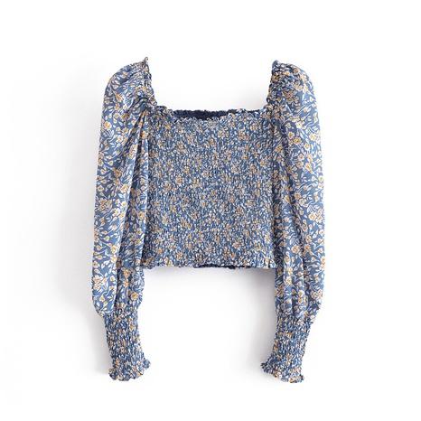 blusa de manga elástica con pliegues florales de moda NHAM324428's discount tags