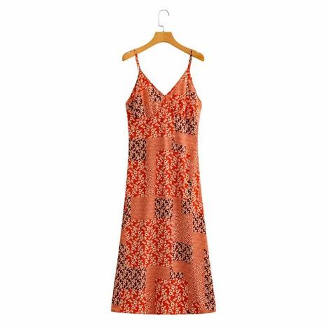 vestido de tirantes con estampado de cintura con cuello en V de moda NHAM324431's discount tags