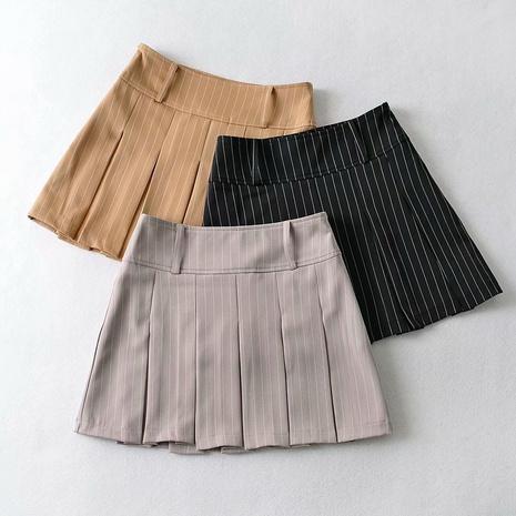 Mini falda plisada de cintura alta a rayas estilo universitario NHAM324435's discount tags