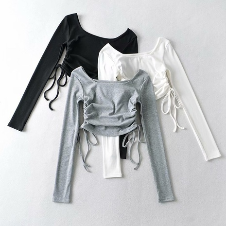 camiseta con cordón lateral de costilla corta de moda NHAM324440's discount tags