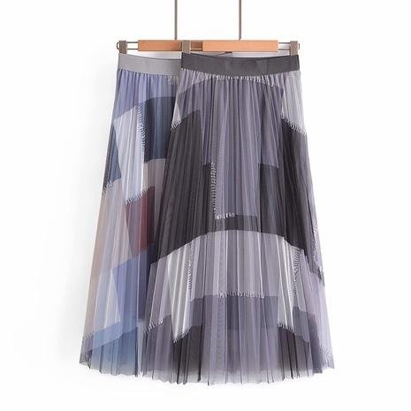 falda de gasa plisada de color de contraste simple de moda NHAM324456's discount tags
