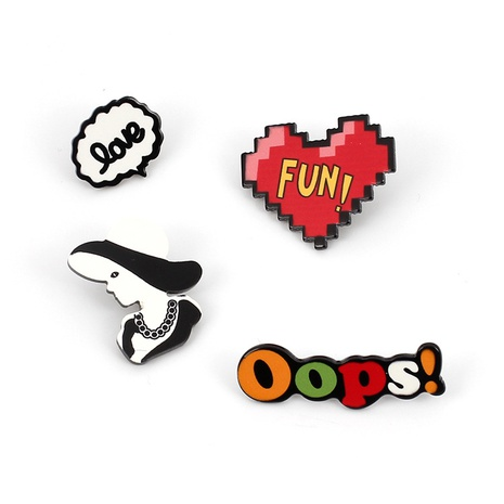 Conjunto de broche de acrílico con letras de dibujos animados lindo NHRN324505's discount tags