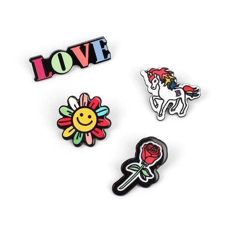 Conjunto de broche de flor de dibujos animados lindo unicornio NHRN324504's discount tags