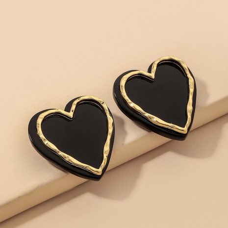 fashion black and white heart-shape acrylic earrings NHNJ324511's discount tags
