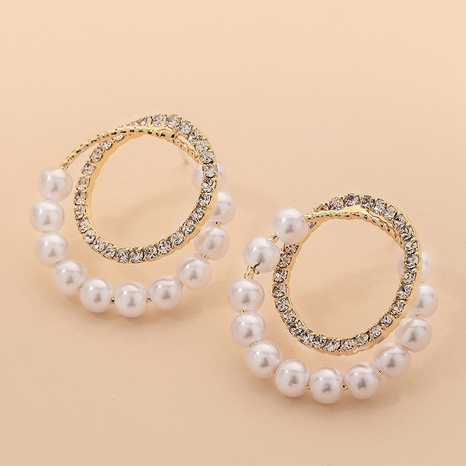 fashion pearl rhinestone geometric earrings NHNJ324510's discount tags