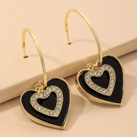 fashion black diamond-studded acrylic C-shaped earrings NHNJ324509's discount tags