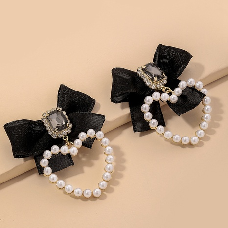 fashion black pearl diamond velvet bow earrings NHNJ324513's discount tags