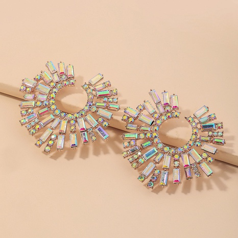 fashion magic color rhinestone sun flower earrings  NHNJ324514's discount tags