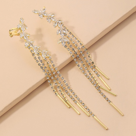 Korean rhinestones long tassel earrings NHNJ324515's discount tags