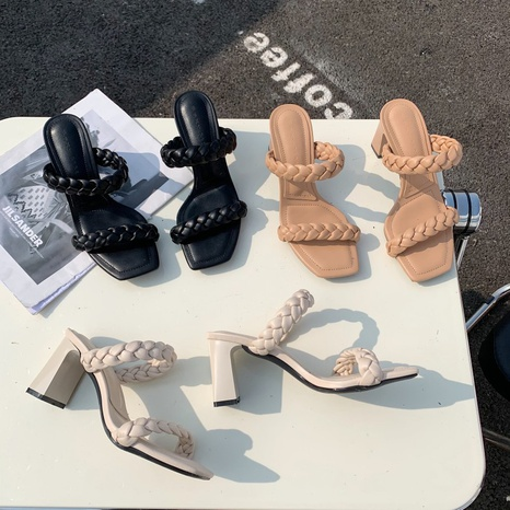 sandalias de tacón alto gruesas cuadradas tejidas de malla de moda NHHU324558's discount tags