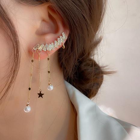 Perlen asymmetrische Quastenohrringe NHOT324781's discount tags