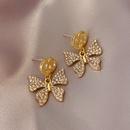 Double circle butterfly earrings NHOT324777