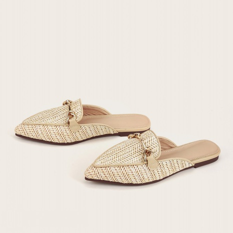 sandalias de punta plana tejidas a la moda NHHU324602's discount tags
