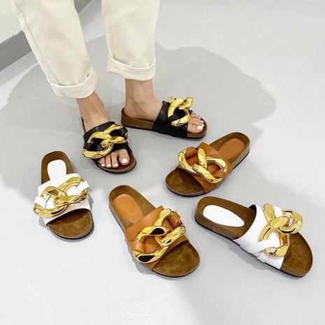 zapatos de plataforma con punta abierta y cadena grande de fondo plano NHHU324608's discount tags