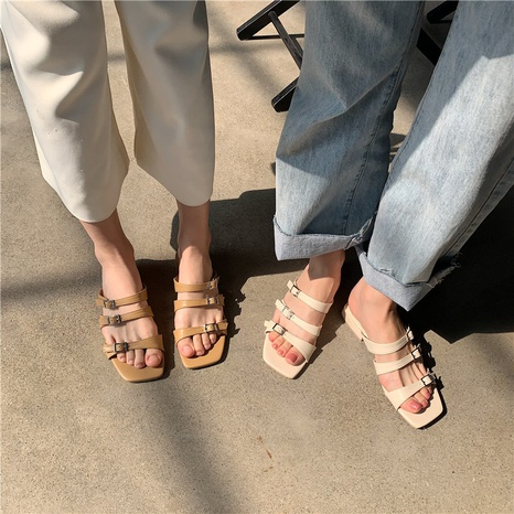 Korean Flat Heel Simple Square Head Sandals NHHU324626's discount tags