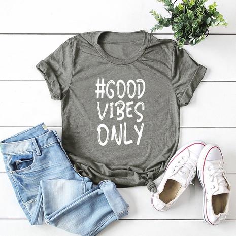 camiseta de manga corta de gran tamaño con letra de moda NHSN324633's discount tags