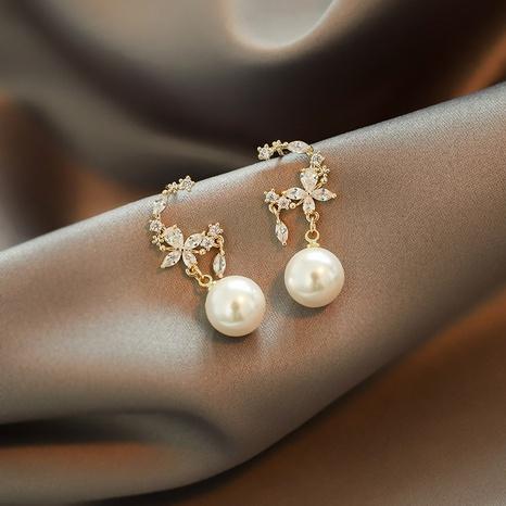 fashion flower style zircon earrings NHOT324757's discount tags