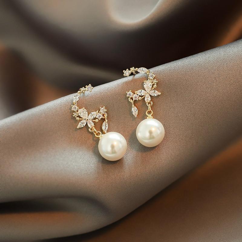 fashion flower style zircon earrings NHOT324757