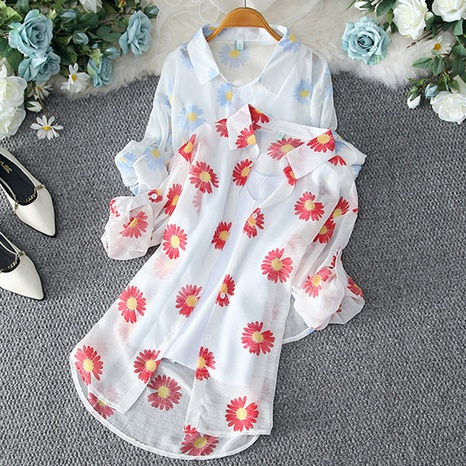 Nueva camisa salvaje suelta de gasa de manga larga NHKO324726's discount tags