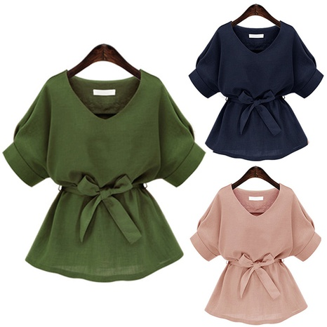 fashion solid color loose waist top NHZN324718's discount tags