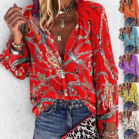 Printed stand collar long-sleeved casual shirt NHJC324716's discount tags