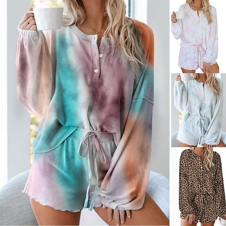 pijama de manga larga con estampado de teñido anudado de nueva moda NHUO324714's discount tags