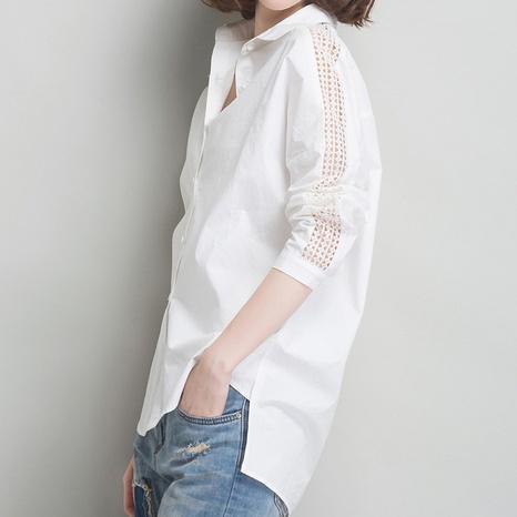 nueva camisa hueca de manga larga de moda NHZN324715's discount tags