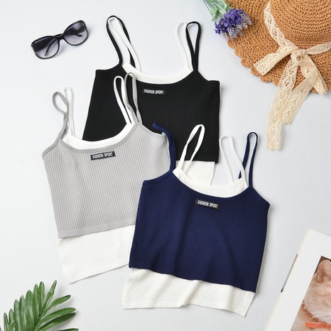 new fashion fake two-piece irregular color camisole NHZN324713's discount tags