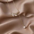 Korean zircon ginkgo leaf pearl necklace NHMS324693