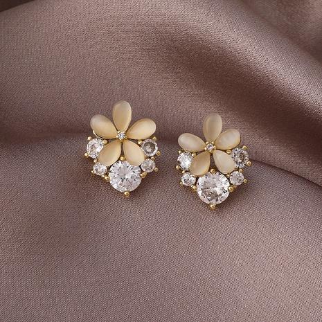 simple five-leaf flower heart-shape earrings NHMS324705's discount tags