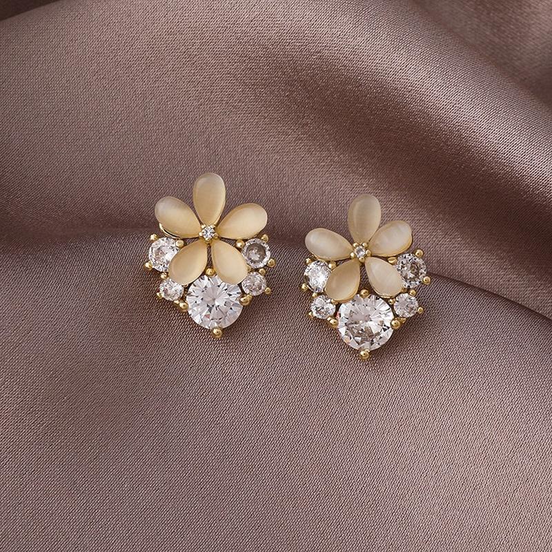 simple fiveleaf flower heartshape earrings NHMS324705