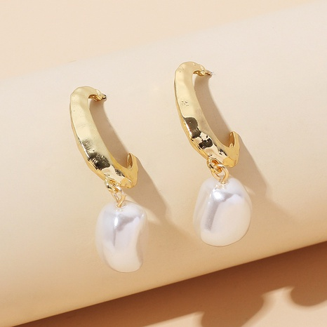 Korean geometric C-shaped pearl stassel earring  NHRN324785's discount tags