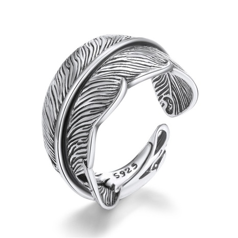 retro feather leaf metal open ring NHGO324895's discount tags