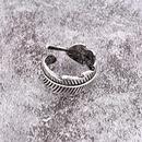 retro cross feather striped open ring NHGO324901