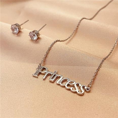 Titan Stahl Brief Diamant Halskette Ohrringe Zweiteiliges Set NHVA324904's discount tags
