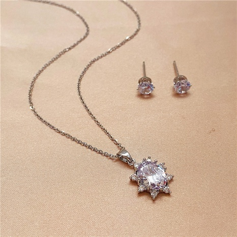 Fashion Titanium Steel Lotus Rhinestone Necklace Earrings Two-piece   NHVA324905's discount tags