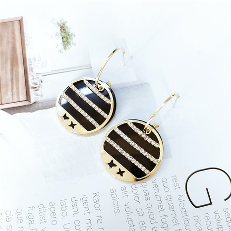 Black Gold Geometric Round Earrings NHVA324916's discount tags