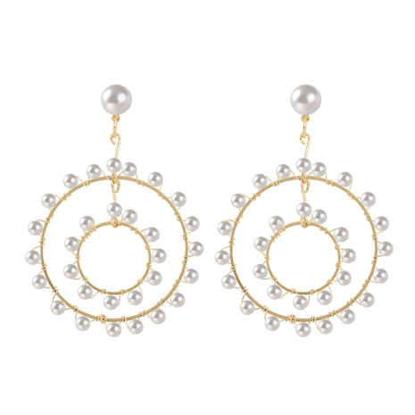 Hand-woven geometric multi-circle pearl earrings NHJQ324952's discount tags