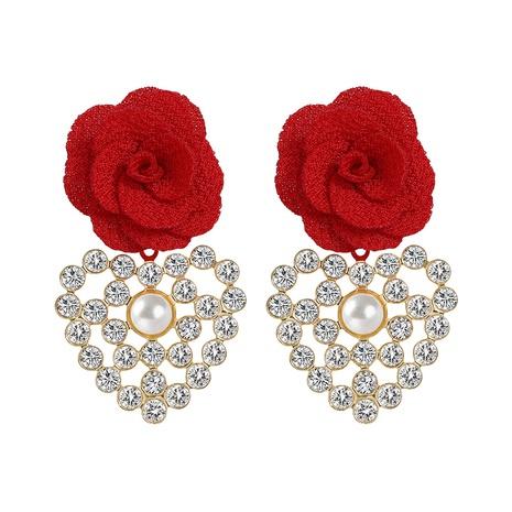 Korean cloth flower heart-shaped alloy diamond earrings NHJQ324954's discount tags